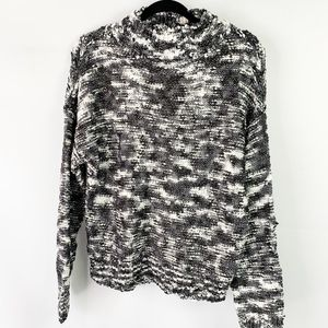SO Black and White Blended Knit Turtleneck Sweater